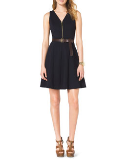 MICHAEL Michael Kors  Front-Zip Flared Dress