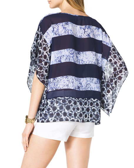 Mixed-Print Chiffon Tunic, Women's