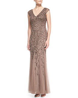 Aidan Mattox Cap-Sleeve Beaded Gown with Tulle Skirt, Mink