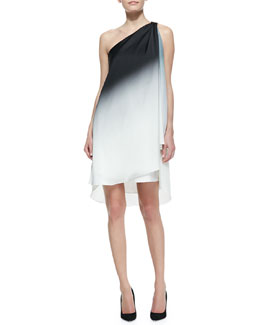 Halston Heritage Ombre Draped One-Shoulder Dress