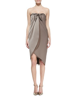Halston Heritage Satin Strapless Wrap Dress