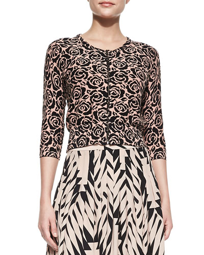 Tracy Reese Zip-Front Rose-Print Cardigan