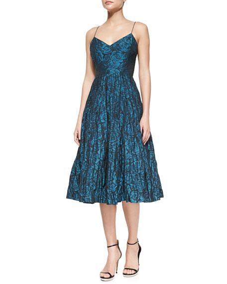 Spaghetti Strap Floral-Print Ballerina Dress