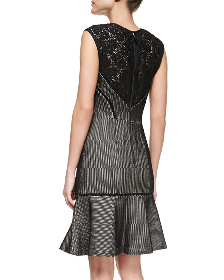 Cap-Sleeve Lace-Yoke Bonded Mesh Dress