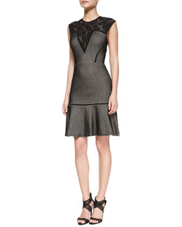 Tracy Reese Cap-Sleeve Lace-Yoke Bonded Mesh Dress