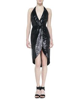 Halston Heritage Halter style sequin dress