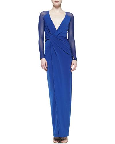 Halston Heritage Sheer-Sleeve Twist-Front Crepe Gown
