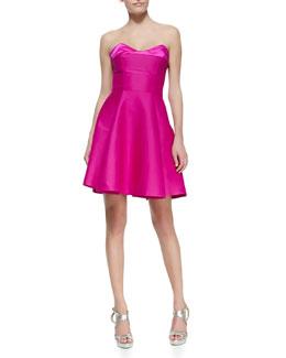 Halston Heritage Strapless Flare Dress