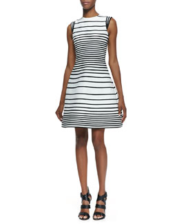 Halston Heritage A-Line Striped Dress With Cap Sleeves
