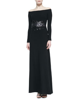 Halston Heritage Off-The-Shoulder Gown With Sequin Detail