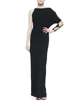 Halston Heritage One-Sleeve Gown With Cutout Detail