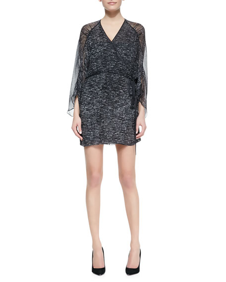 Printed Georgette Raglan Wrap Dress