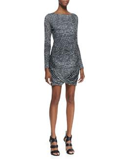 Halston Heritage Drape-Hem Printed Jersey Dress