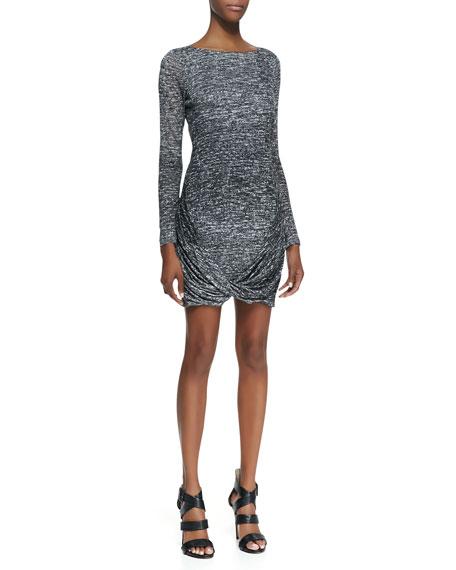 Drape-Hem Printed Jersey Dress