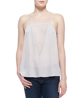 Halston Heritage Lace-Inset Silk Camisole