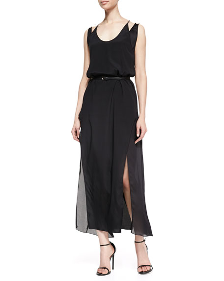 Double-Layer Silk Maxi Dress