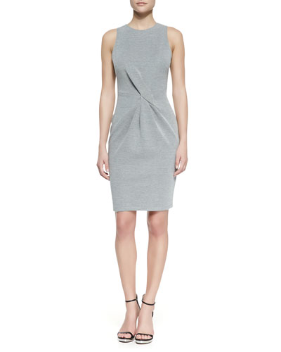 Halston Heritage Twist-Front Sleeveless Knit Dress