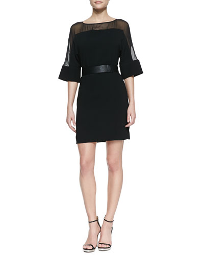 Halston Heritage Sheer-Top Belted Crepe Dress