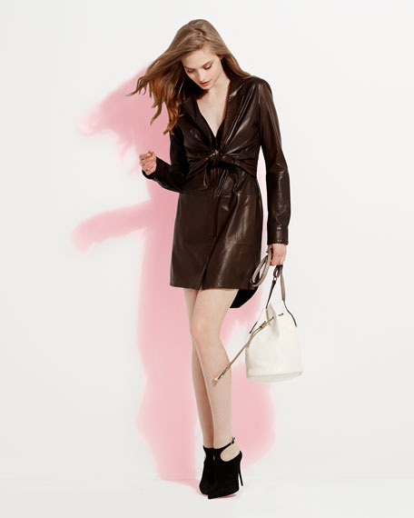 Leather Shirtdress with Attached Jacket