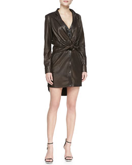Halston Heritage Leather Shirtdress with Attached Jacket