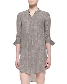 Halston Heritage 3/4-Sleeve Georgette Shirtdress, Ash Beaded Web