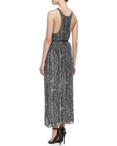 Sleeveless Printed Racerback Maxi Dress