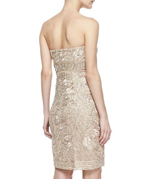 Strapless Jacquard Short Dress