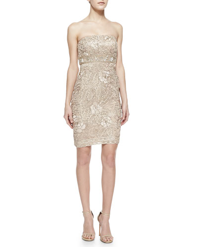 Sue Wong Strapless Jacquard Short Dress
