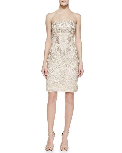 Sue Wong Strapless Embellished Jacquard Short Dress