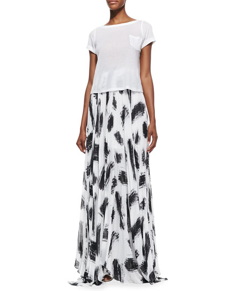 Shannon Pleated Brush-Print Maxi Skirt