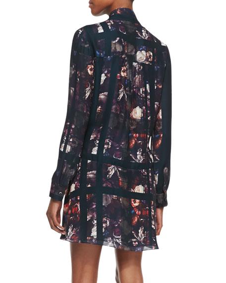 Long-Sleeve Plaid & Floral-Print Dress