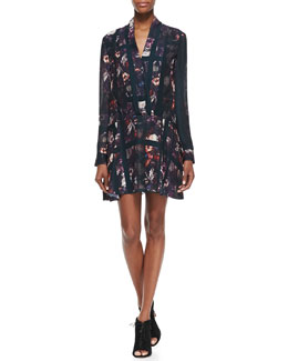 Thakoon Addition Long-Sleeve Plaid & Floral-Print Dress