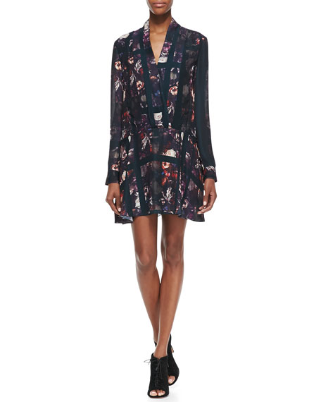 Long-Sleeve Plaid & Floral-Print Dress