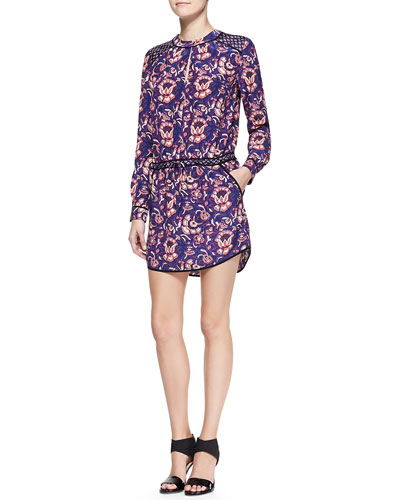 Veronica Beard Printed Solid-Trim Keyhole Shirtdress