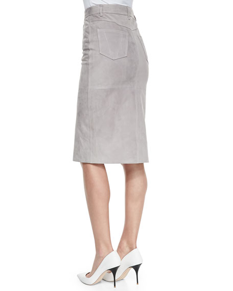Suede Pencil Skirt, Gray