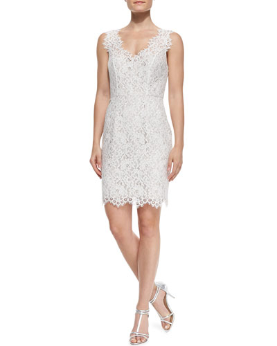 Shoshanna Sleeveless Lace-Overlay Cocktail Dress