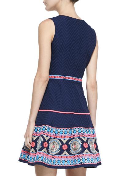 Sleeveless Embroidered-Hem Dress