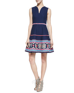 Shoshanna Sleeveless Embroidered-Hem Dress