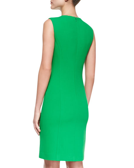 Chain-Front Crepe Sheath Dress, Palm