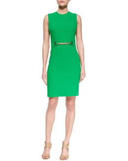 Michael Kors Chain-Front Crepe Sheath Dress, Palm