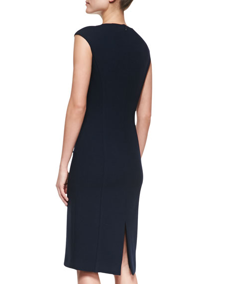Boucle Cap-Sleeve Sheath Dress, Midnight