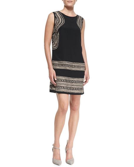Sleeveless Geo Cutout-Print Shift Dress