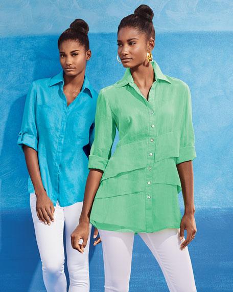Milly Linen Back-Vent Shirt