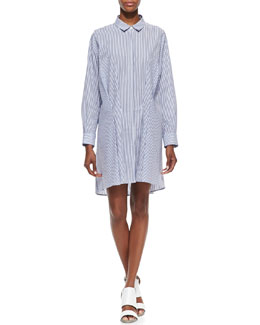 Thakoon Addition Long-Sleeve Striped Tuck-Front Cotton Shirtdress