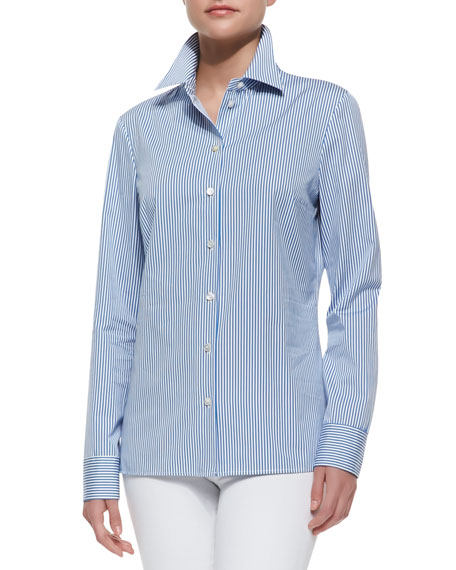 Long-Sleeve Striped Poplin Shirt, Sea/Optic White