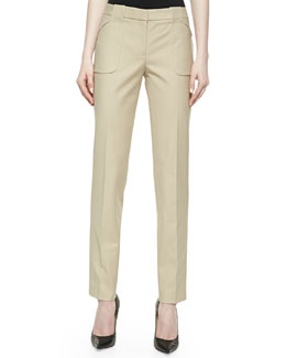 Michael Kors Eva Broadcloth Utility Pants, Hemp