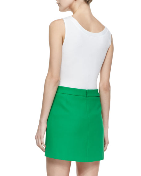 Compact Circle-Pocket Canvas Skirt, Palm