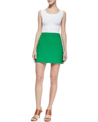 Michael Kors Compact Circle-Pocket Canvas Skirt, Palm
