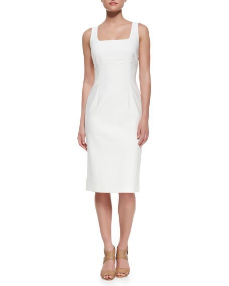 Sleeveless Sheath Stretch-Cotton Dress, Optic White