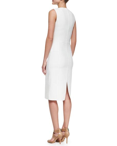 Double-Face Stretch Sheath Dress, Optic White